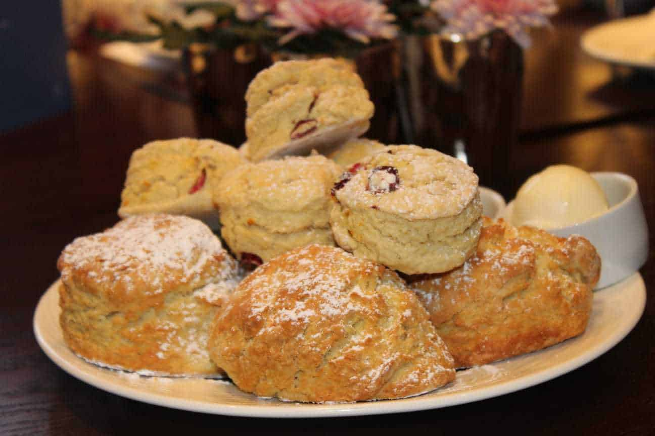 A huge pile of scones we were treated to at our Festive Afternoon Tea at Three Church Road