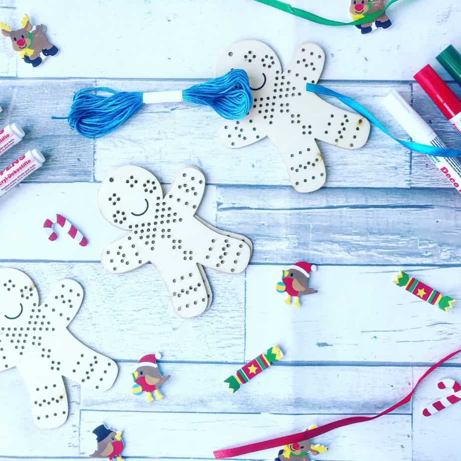 A close up of the Gingerbread man activity we received in our Christmas Crafts box from Baker Ross