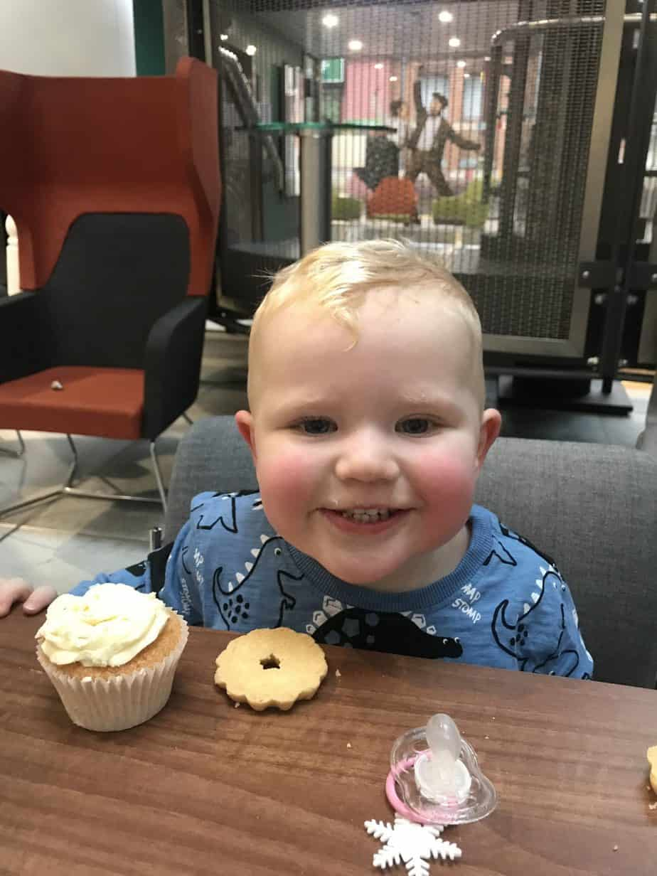 Baby K super excited...for cake prior to our show of Emily and The Thing