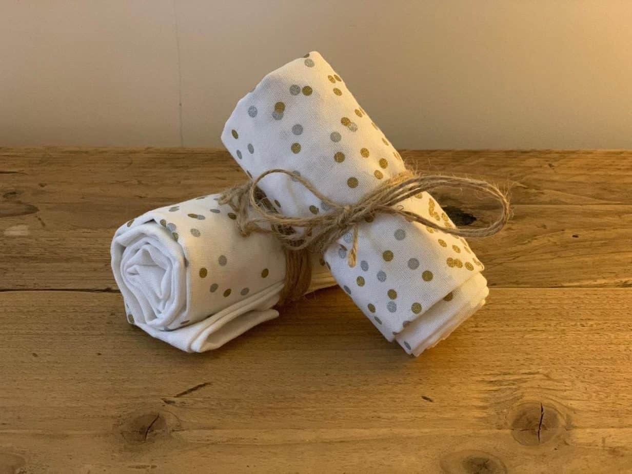 Gold and Silver Spotty Tea Towels The Grey Company Interiors