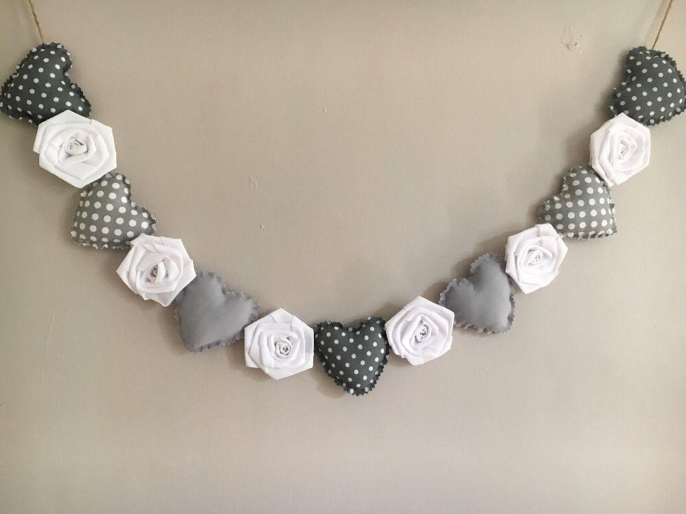 Shabby Chic Heart and Rose Garland in grey and white The Grey Company Interiors