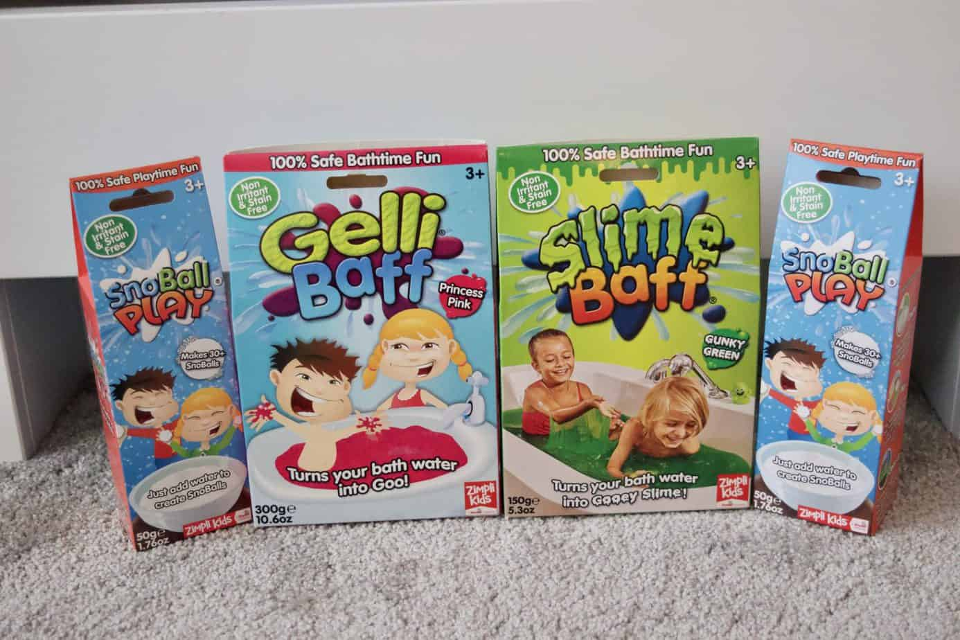 Gelli baff, slime baff and snowball play packs together