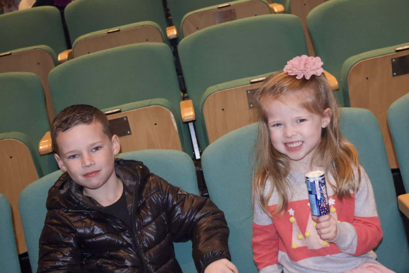 Mr B and Miss W getting ready to watch Rudolf at MAC