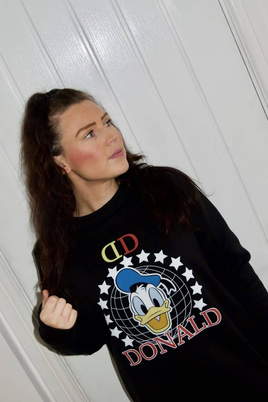 Me wearing my black Donald Duck jumper - my disney fashion