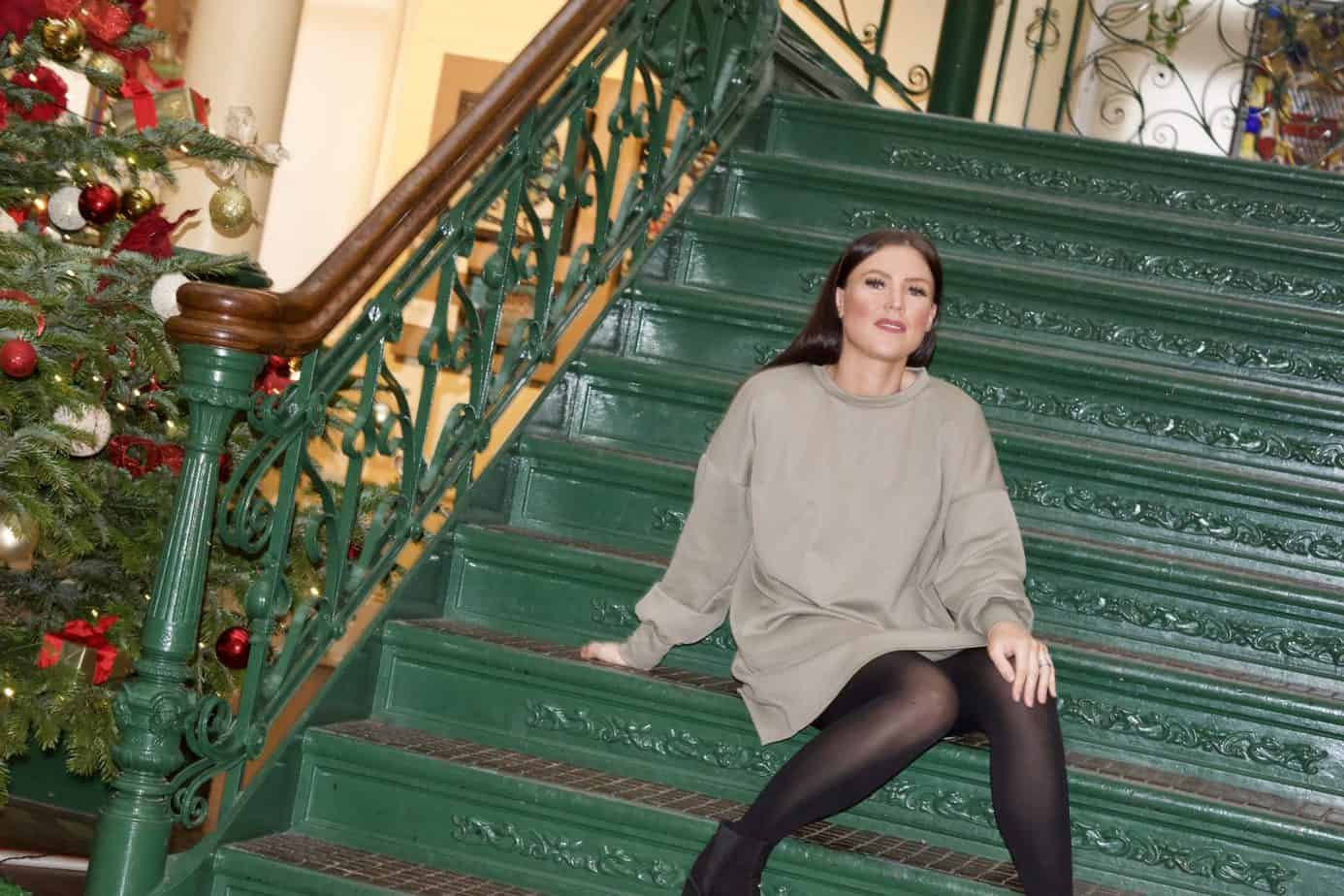 Wearing Khaki oversized sweater dress from Femme Luxe Finery from my casual wear this winter