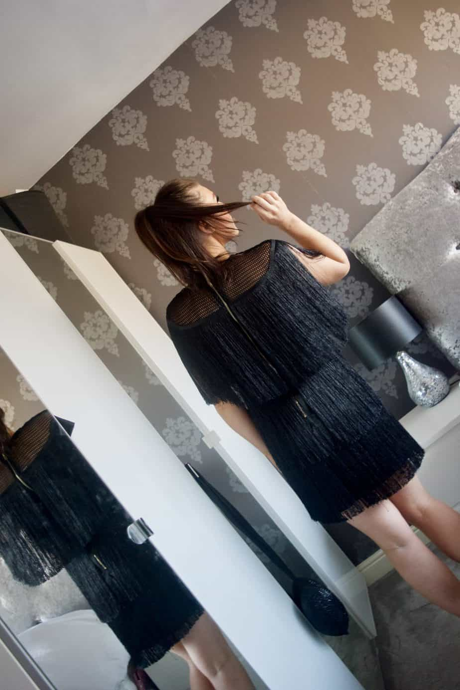 The back of the Christmas party dress I chose from Boohoo, showcasing the gold zip