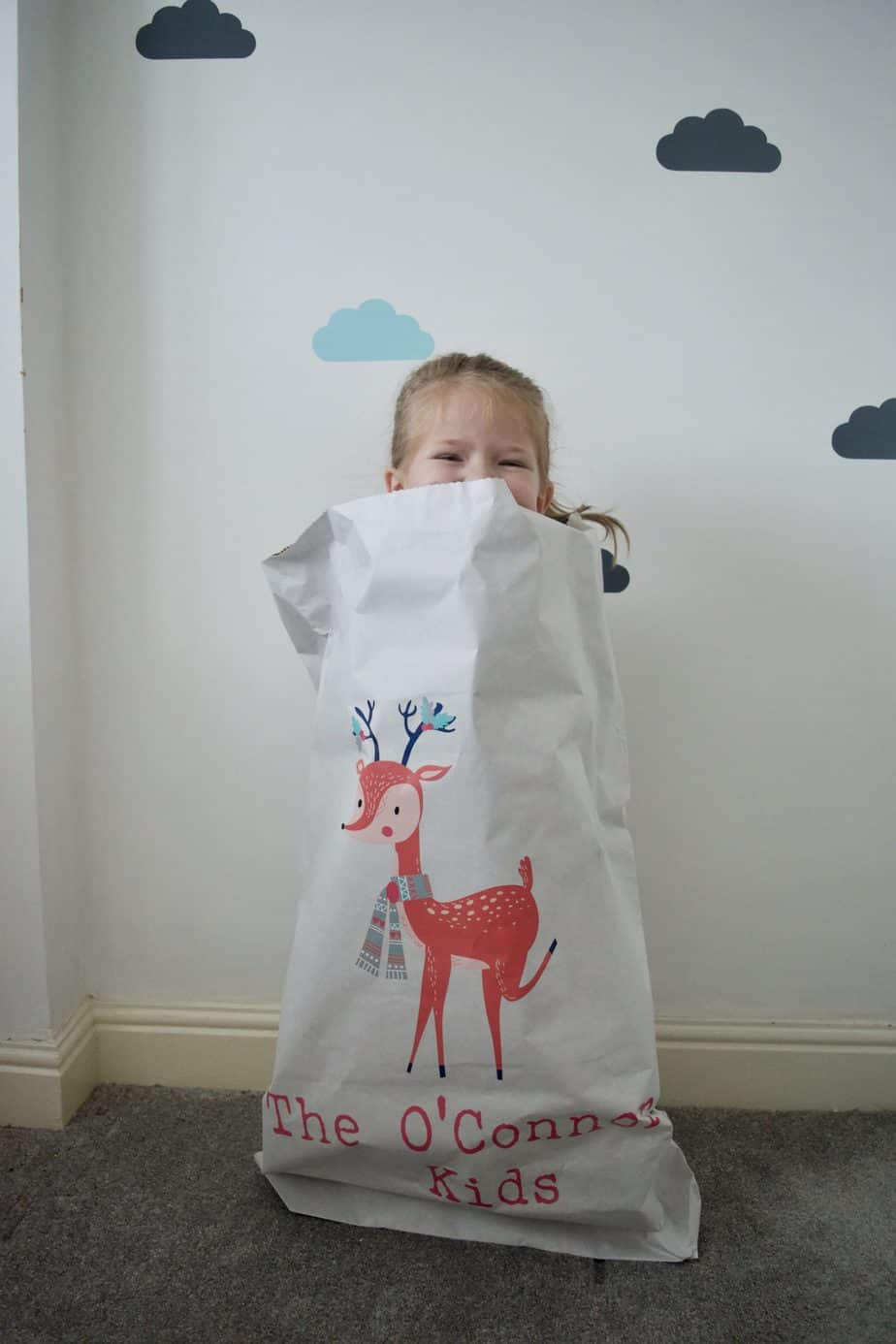 Miss W peeping out of our paper Christmas sack!