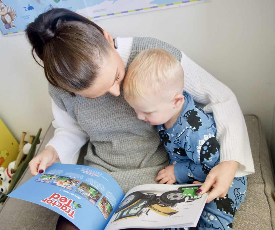 Baby K and I enjoying reading Tractor Ted