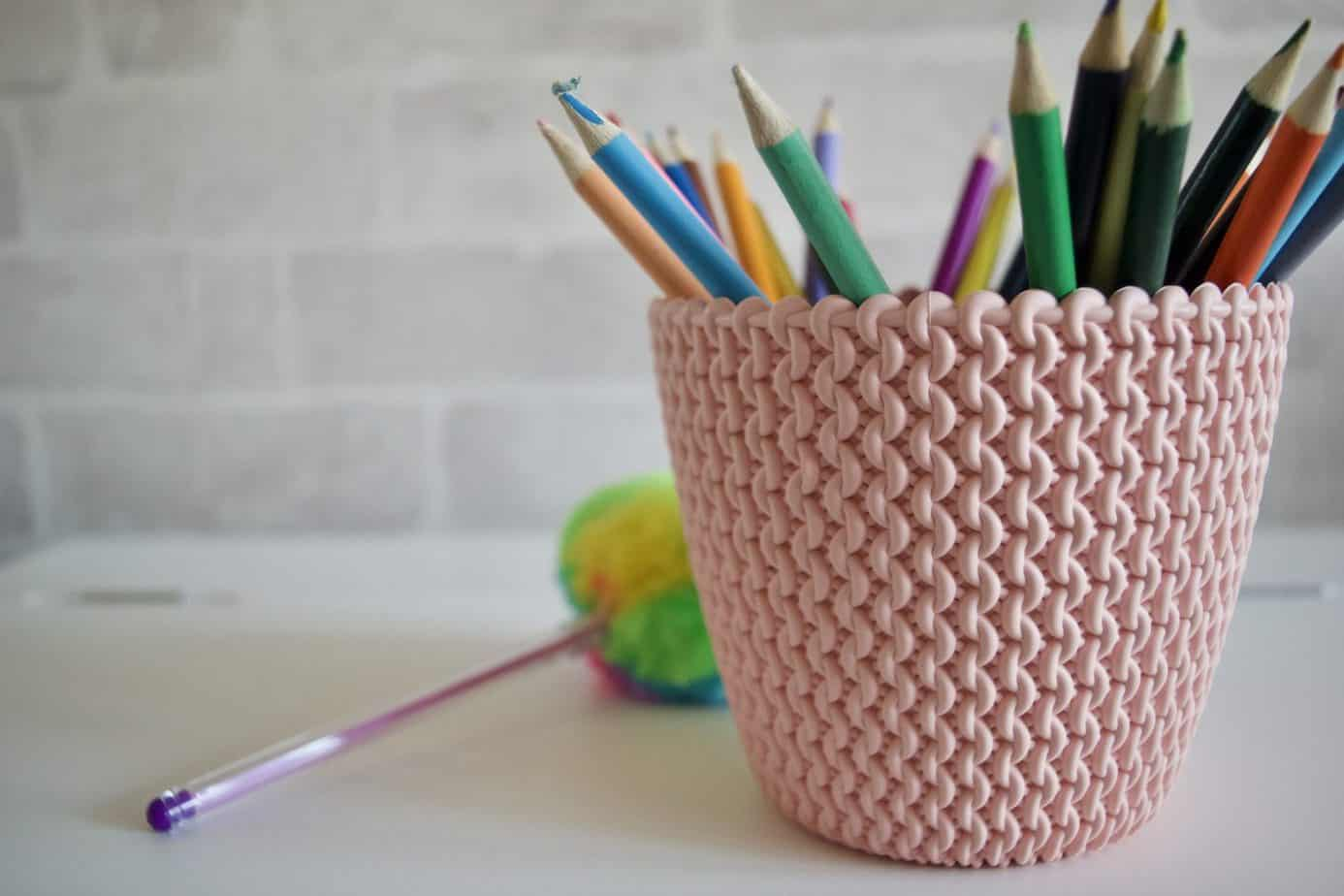 Pale pink desk tidy from Tiger