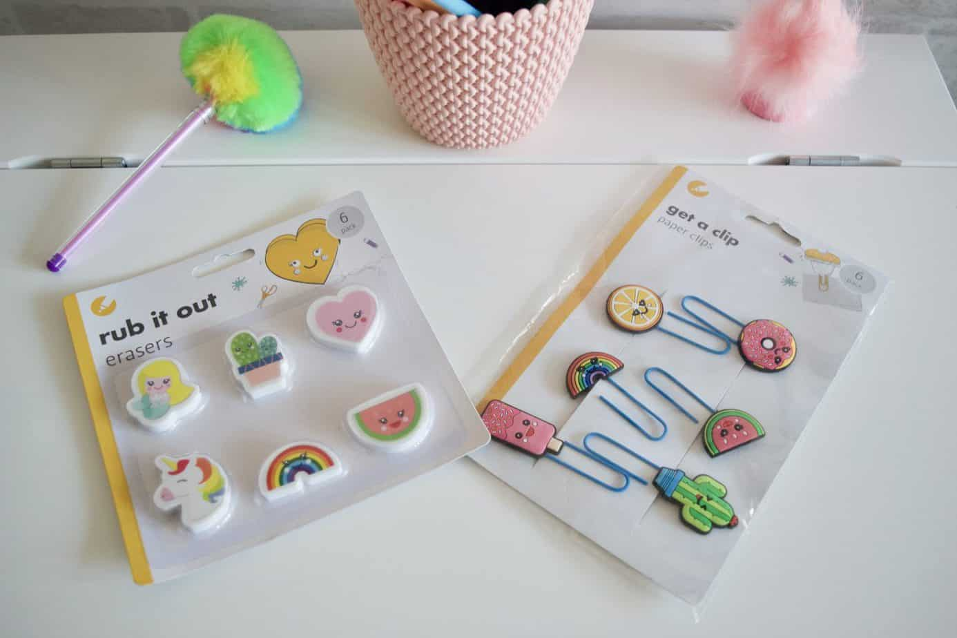 Pack of 6 erasers and pack of 6 paper clips both from Poundland