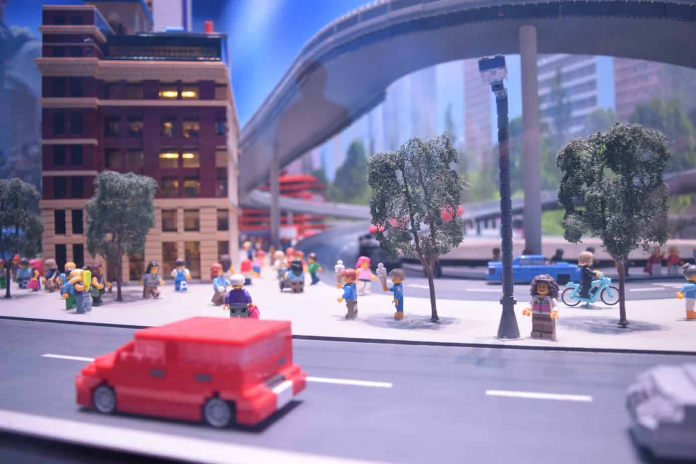 lego close up of a car and people and trees within he MINI LAND Attraction at Legoland Discovery Centre Birmingham