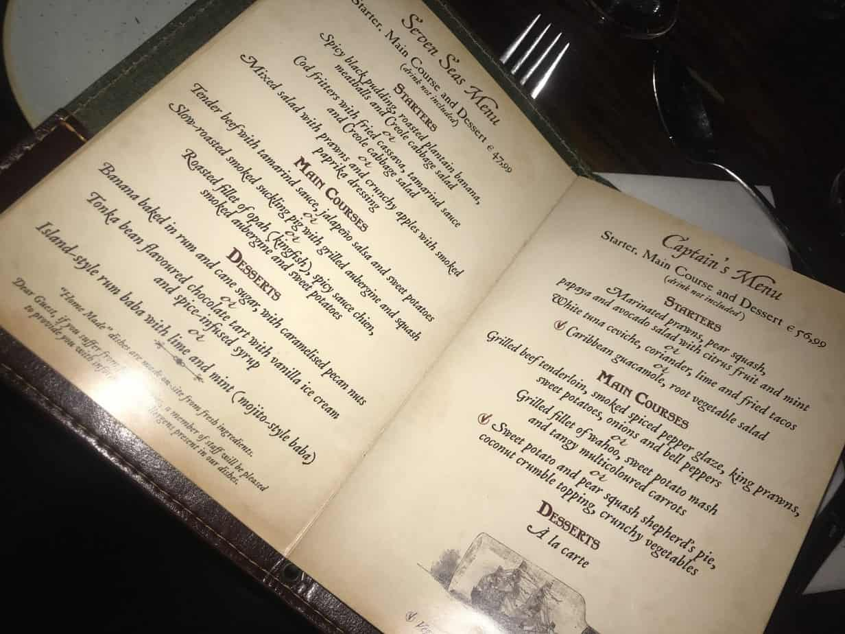 The menu at Captain Jacks - Restaurant des Pirates