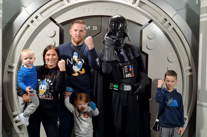 Family shot of meeting Darth Vader