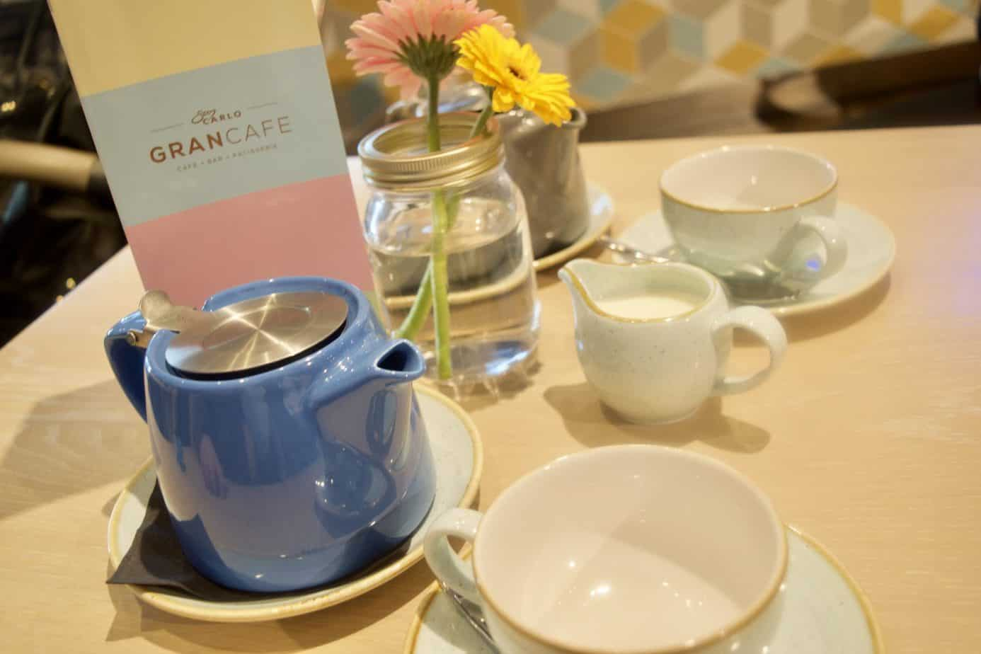 A table showing our cups and teapot at San Carlo Cafe in Selfridges Birmingham