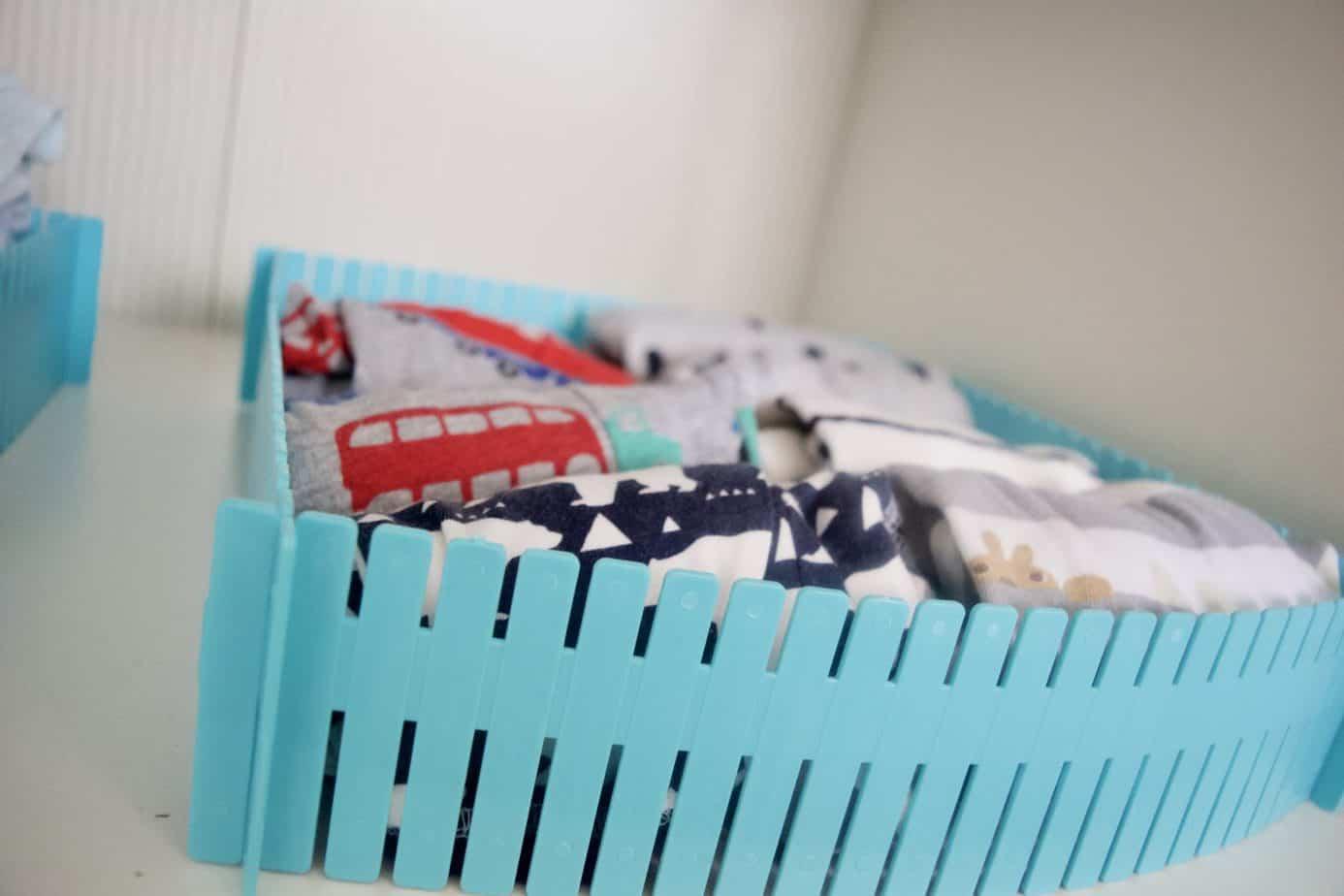 wardrobe drawer divider in blue