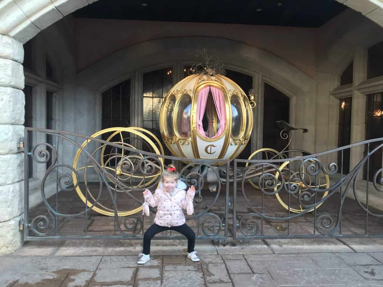 Miss W outside Cinderella's carriage