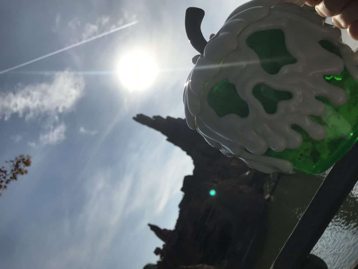 Skeleton popcorn pot in front of Thunder Mountain
