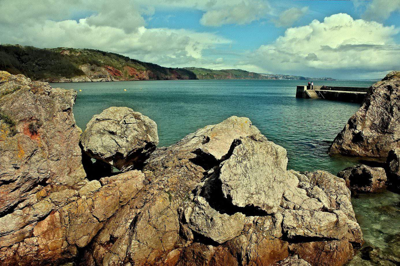 Devon - sea and cliffs and cloudy sky