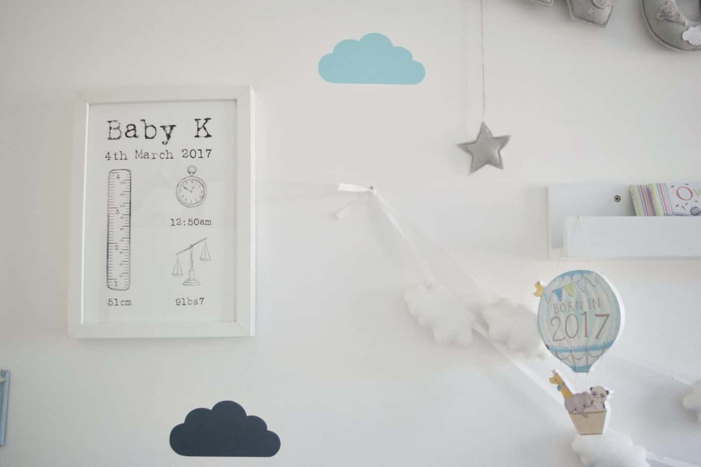 Monochrome personalised nursery print on Baby K's wall