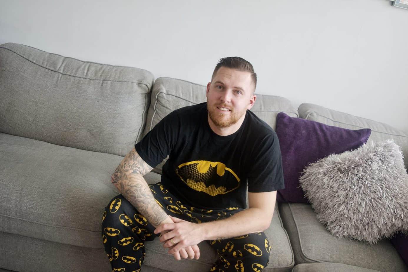 Matt wearing his Bat Man Pj's from Pyjama Factory
