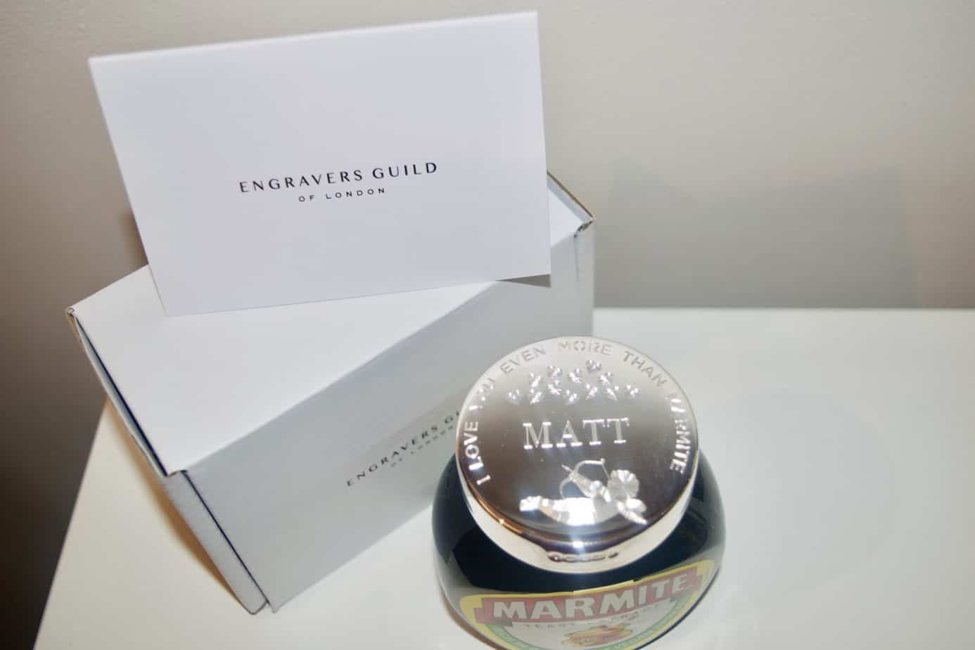 Engraved Silver Marmite lid with the box from Engraved Guilds