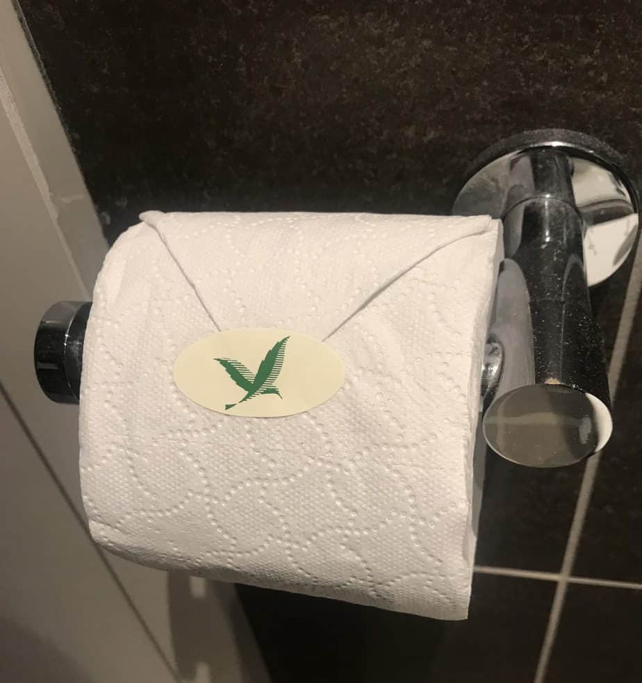 Center Parcs toilet roll with a CP sticker