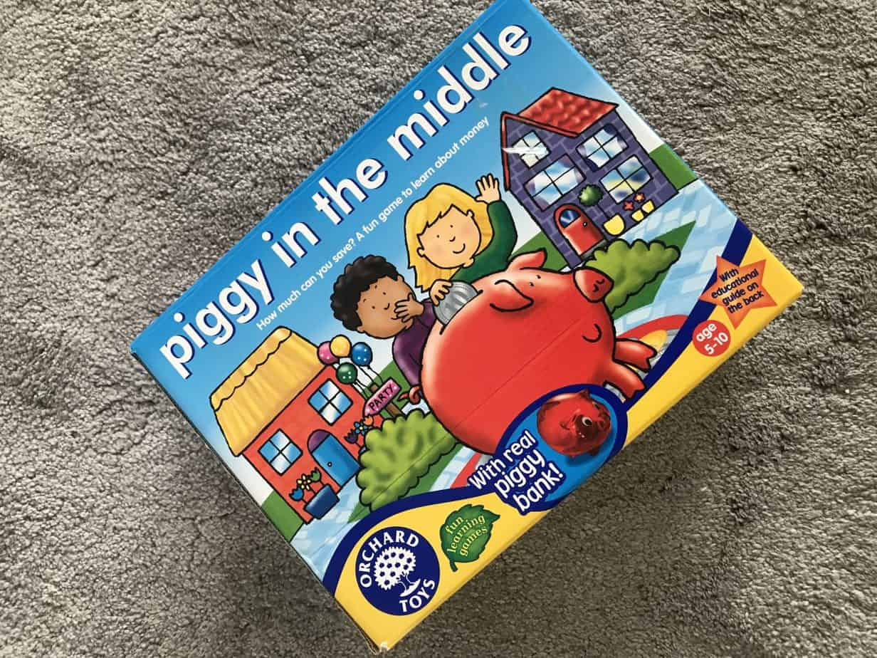 Piggy in the Middle - Orchard Games box is one of our favourite family games for 4 and 8 year olds