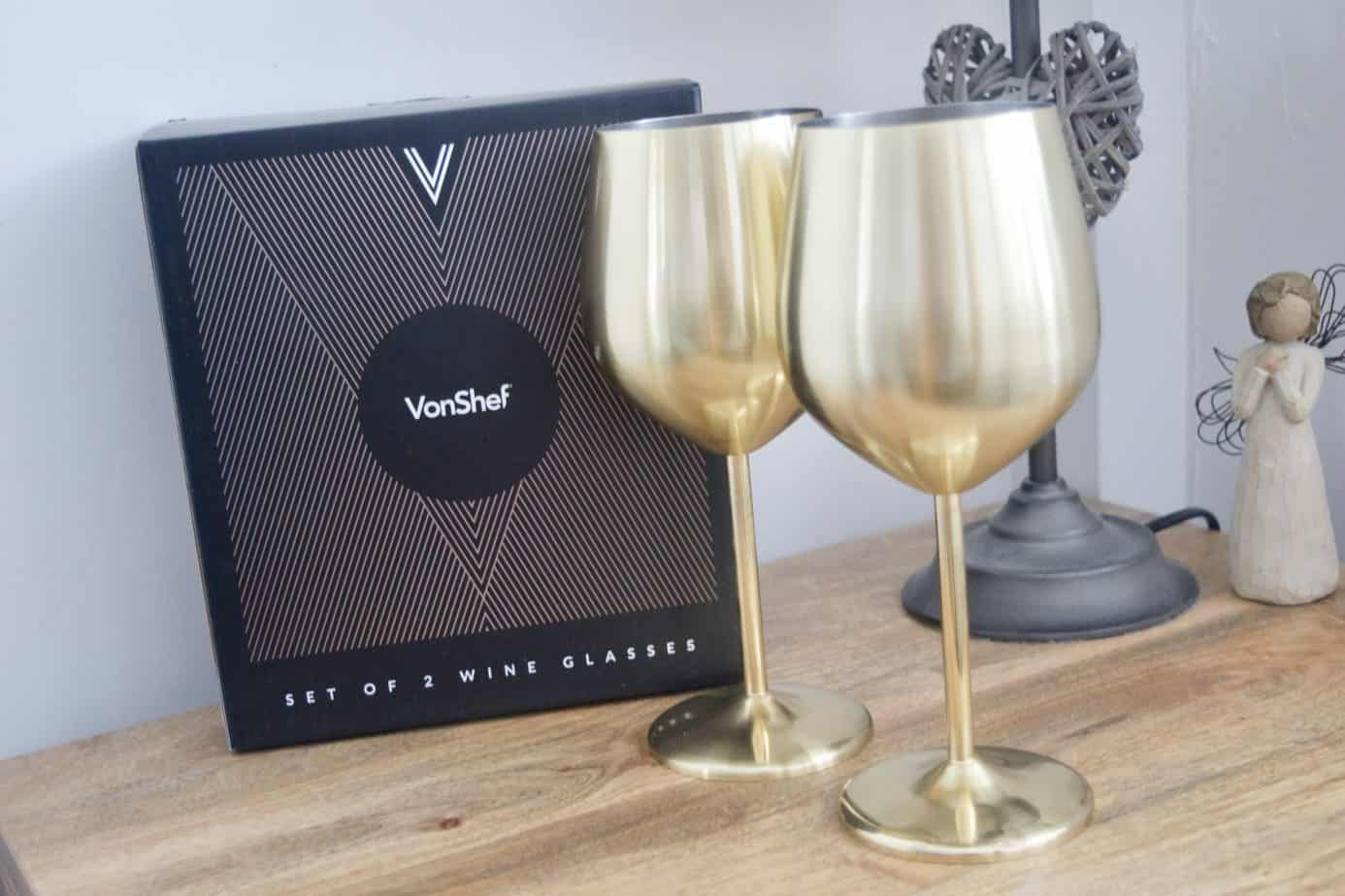 VonShef Gold Wine Glasses
