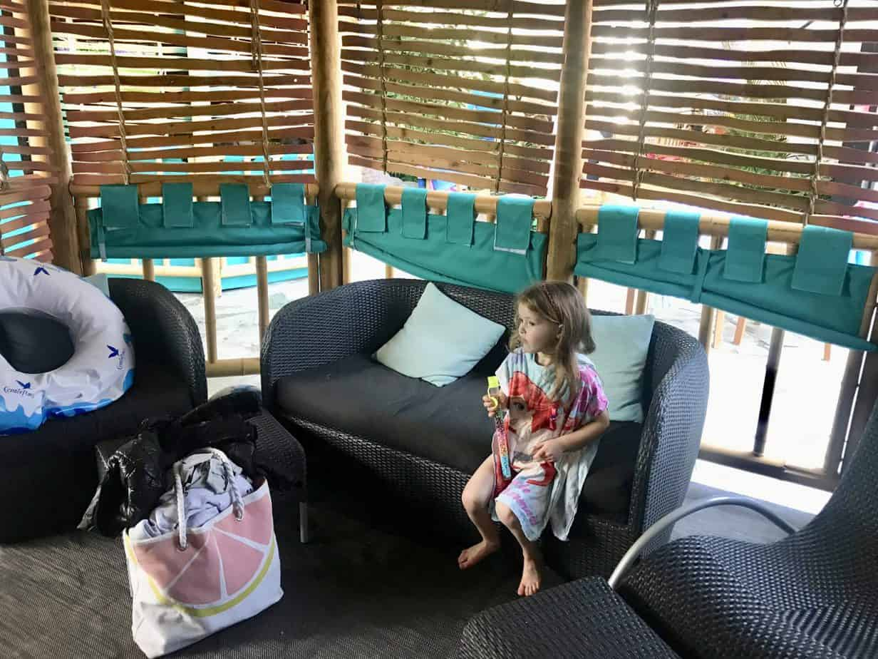 W sitting on the sofa inside our center parcs cabana