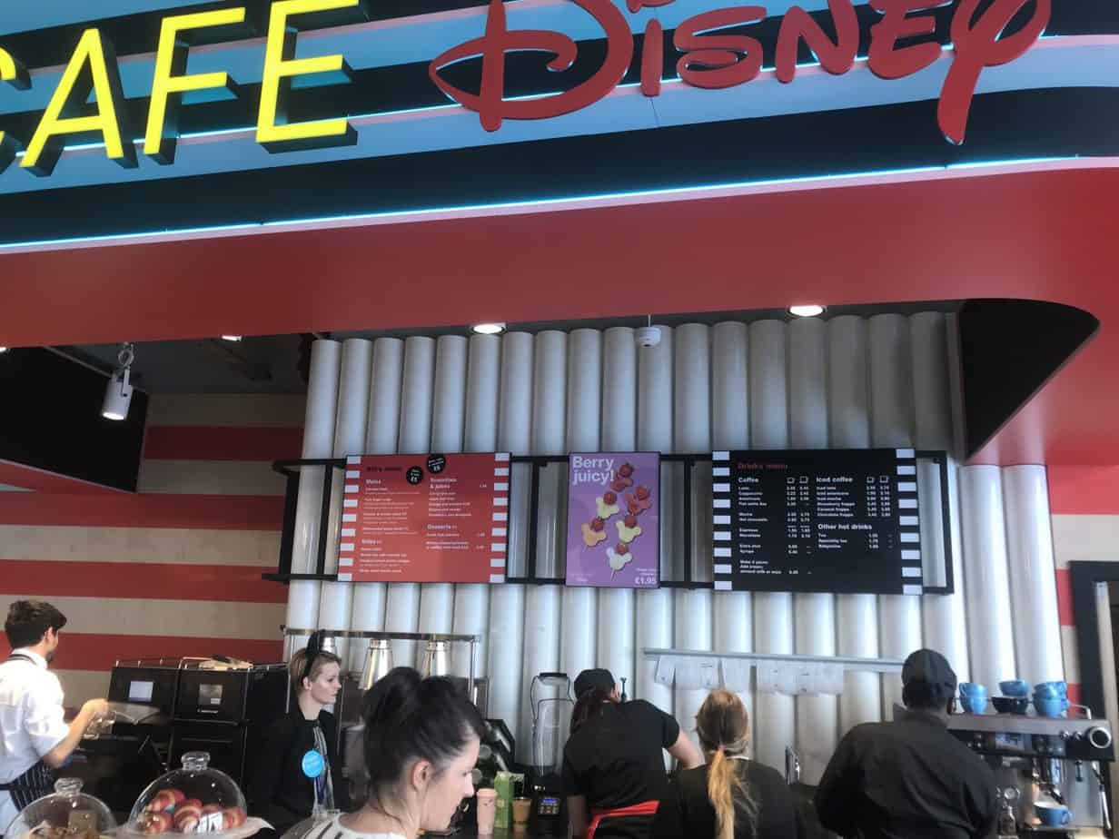 The Disney Cafe Menu's at the self service counter