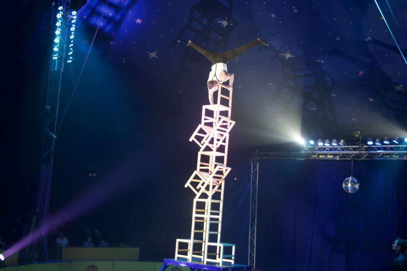 The balancing act on 8 chairs at The Paulos Circus