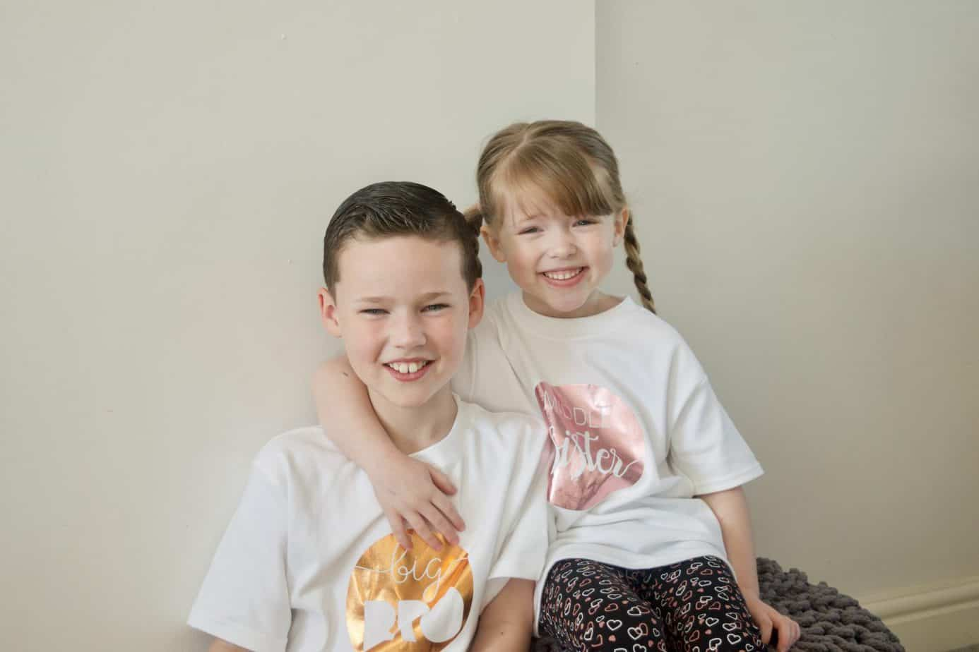Big Brother and Middle Sister Matching T-shirts from Teether Baby Boutique