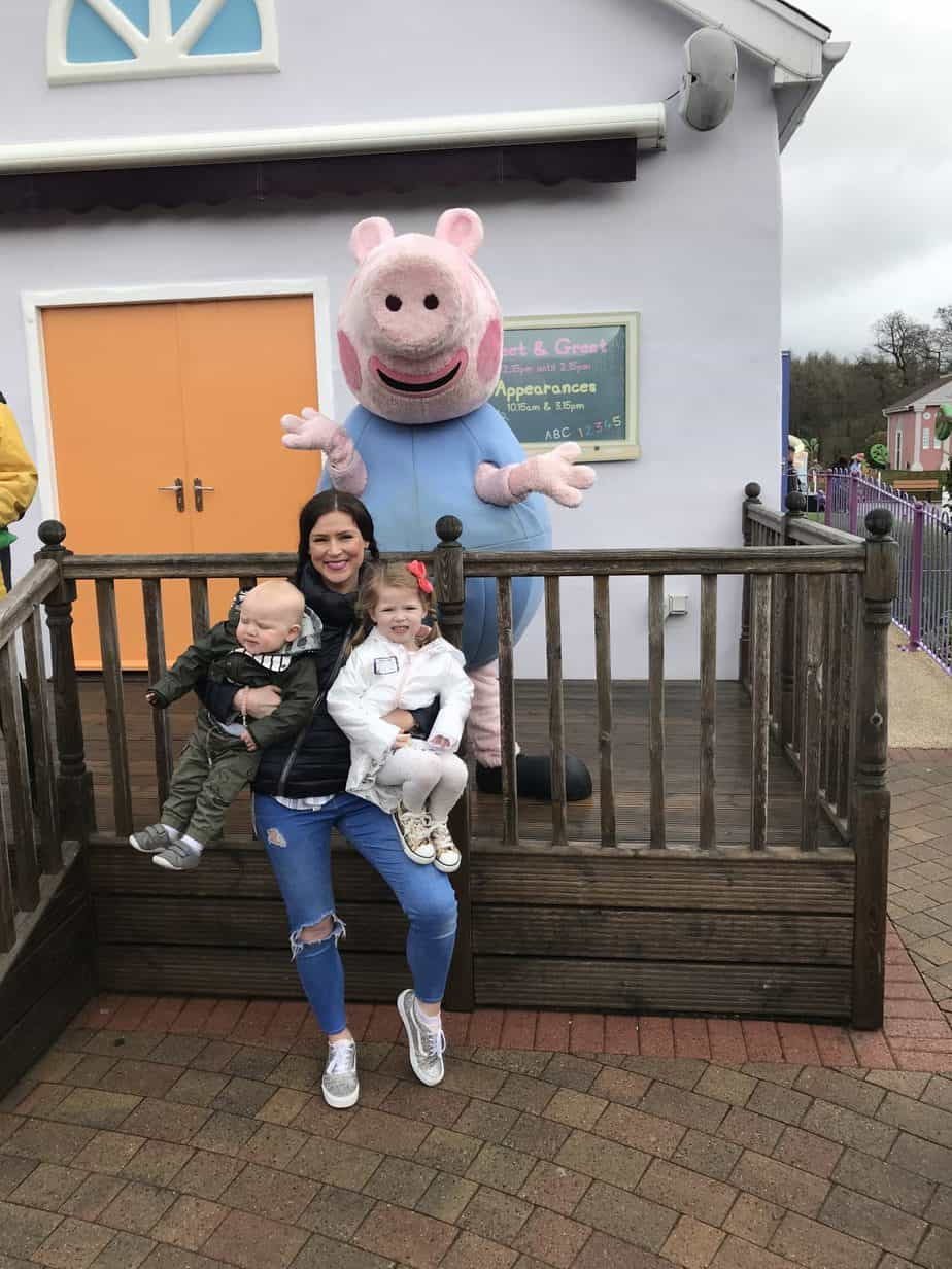 Meeting George at Peppa Pig World at Paultons Park