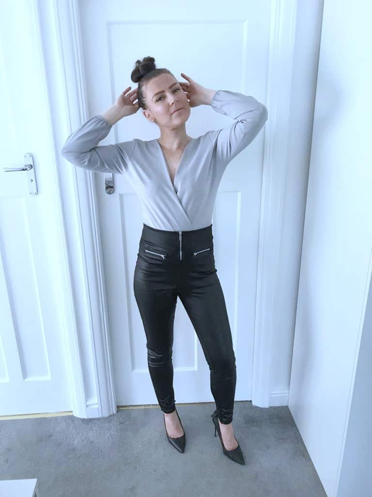 high waisted faux leather leggings from femme luxe finery