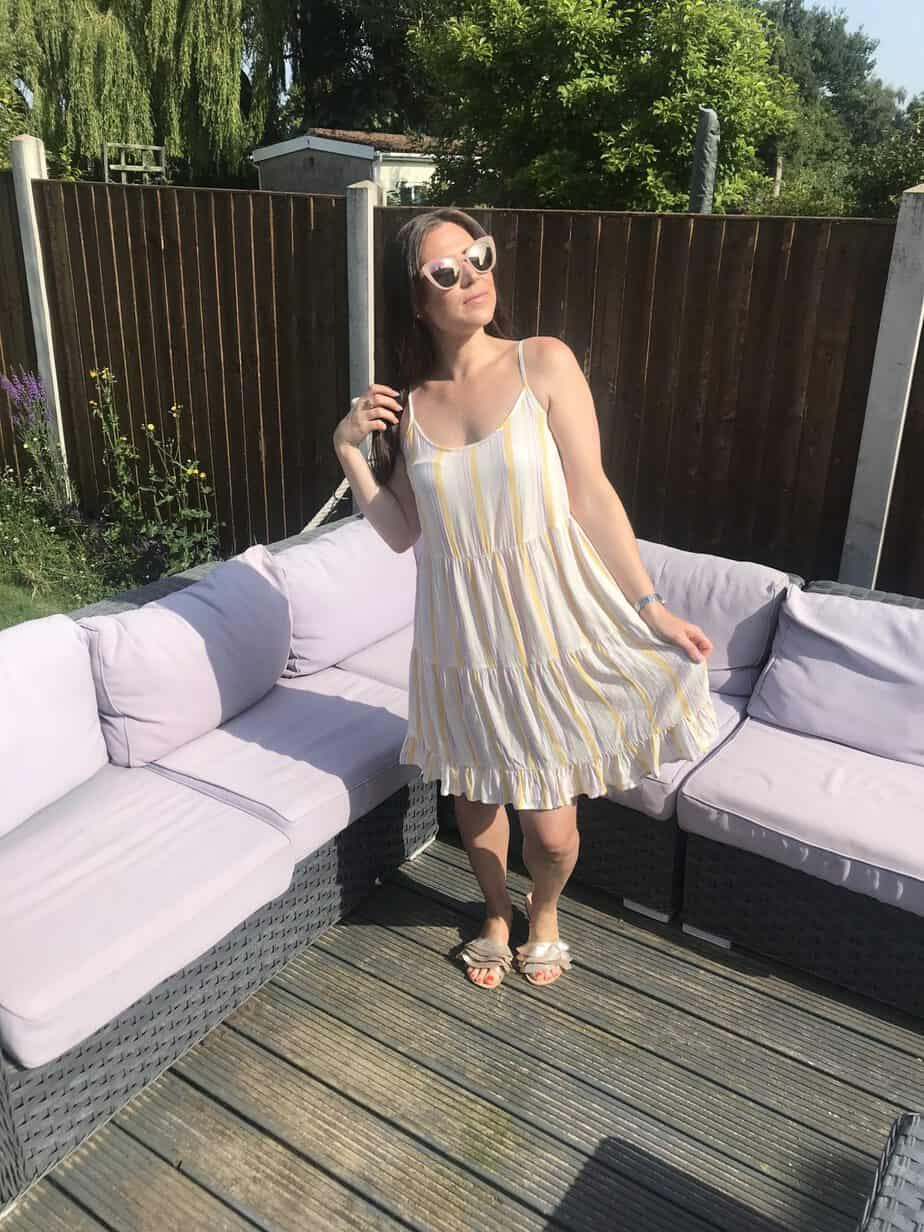 Pastel yellow striped new look summer dress