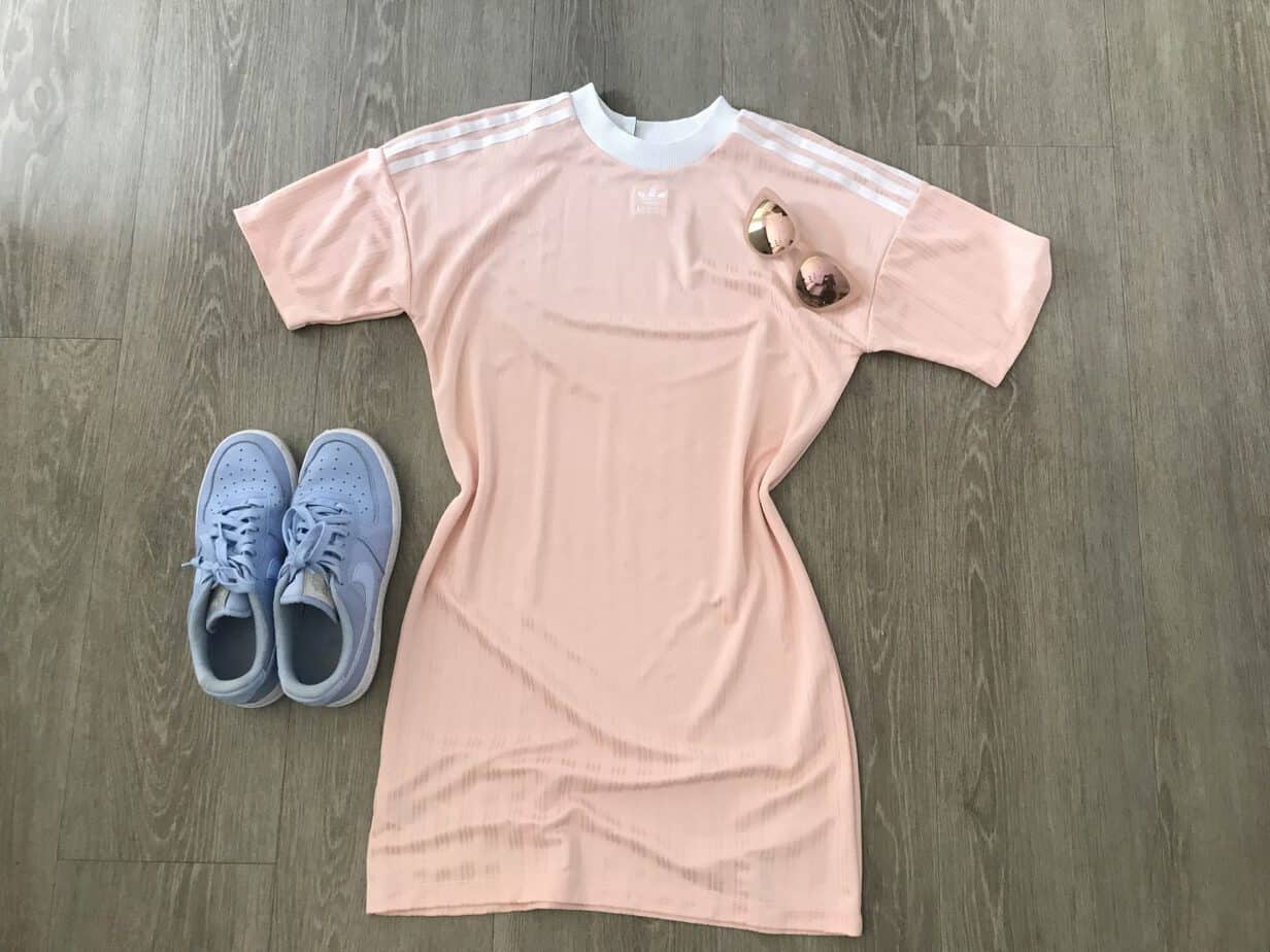 Adidas T-shirt dress in coral