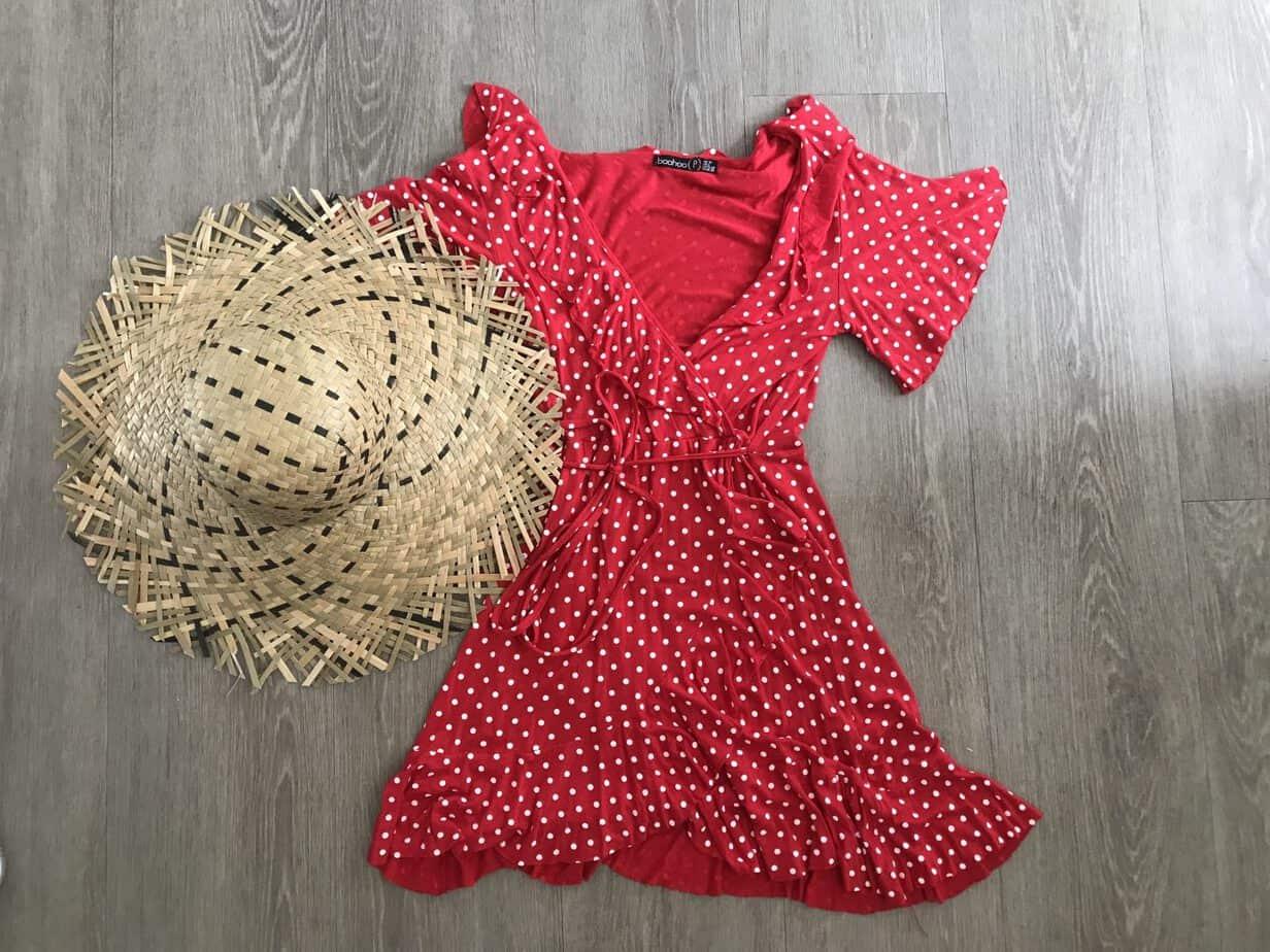 Red polkadot wrap dress from boohoo