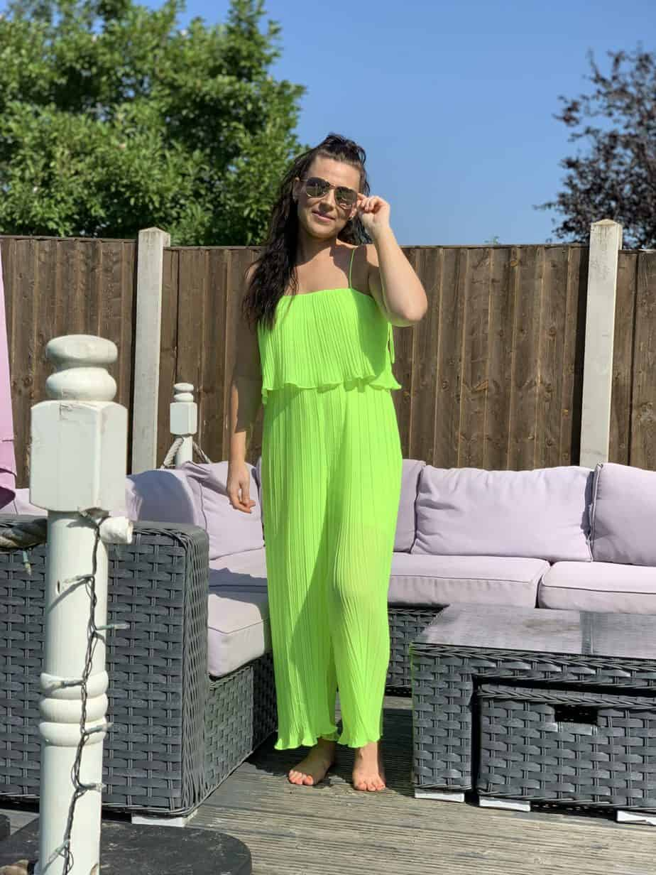 neon green pleated jumpsuit