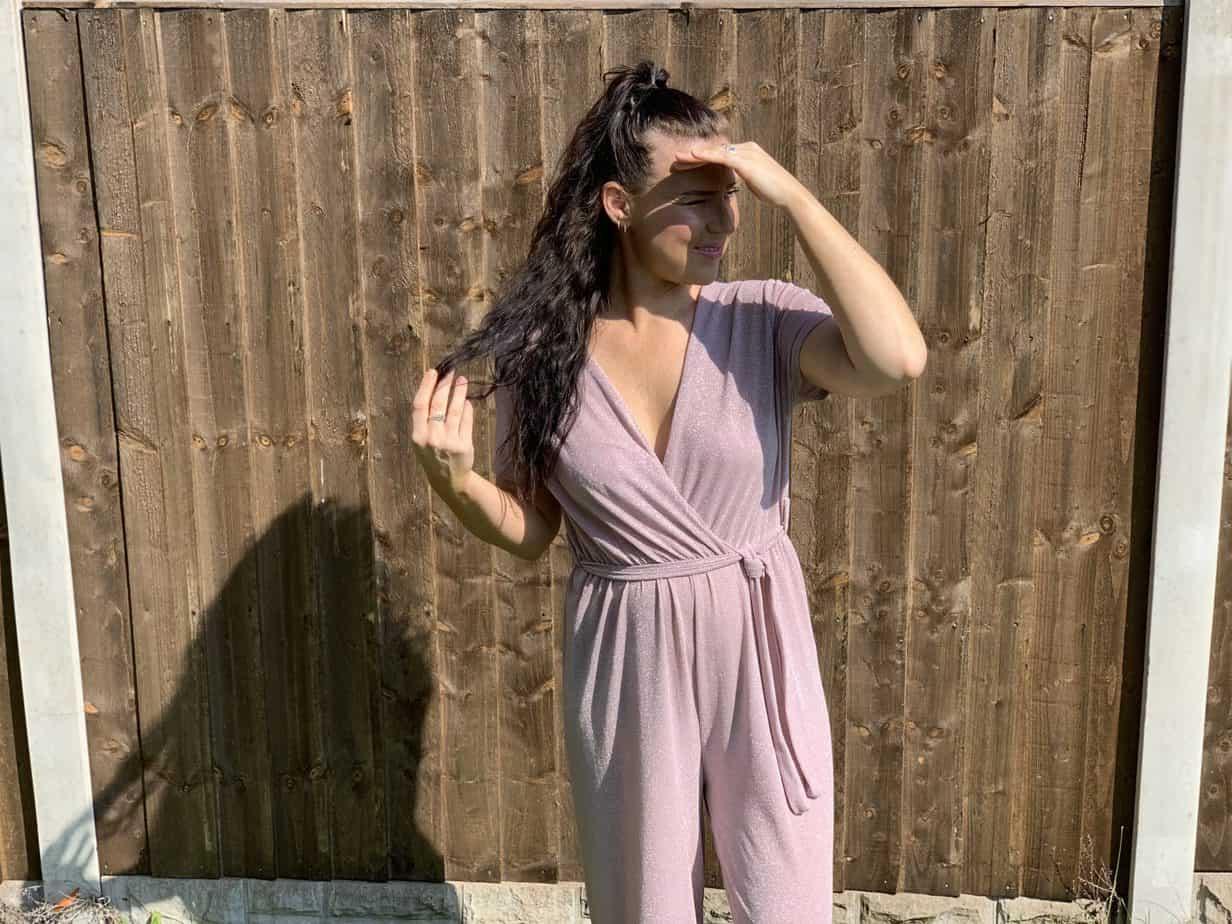 v neck pink glitter jumpsuit