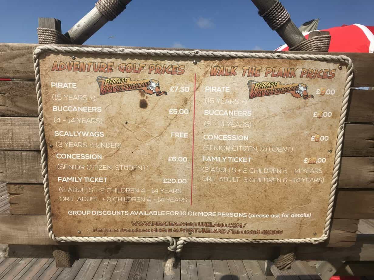 Pirates adventure price board weston super mare seafront attraction
