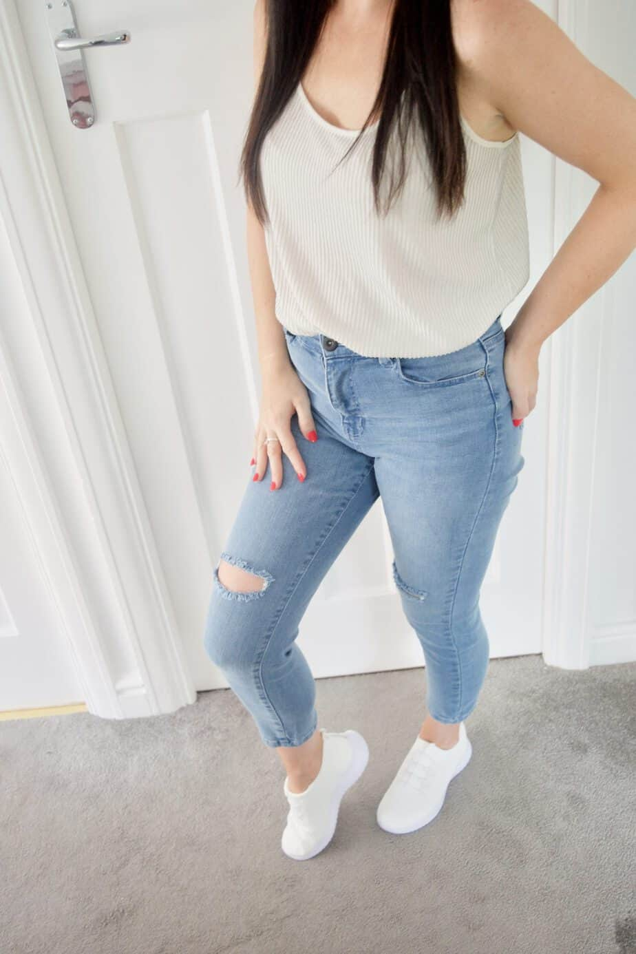 ripped light wash cropped jeans femme luxe finery