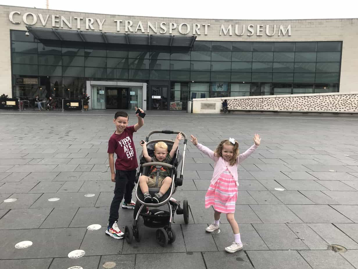 kids outside coventry transport museum