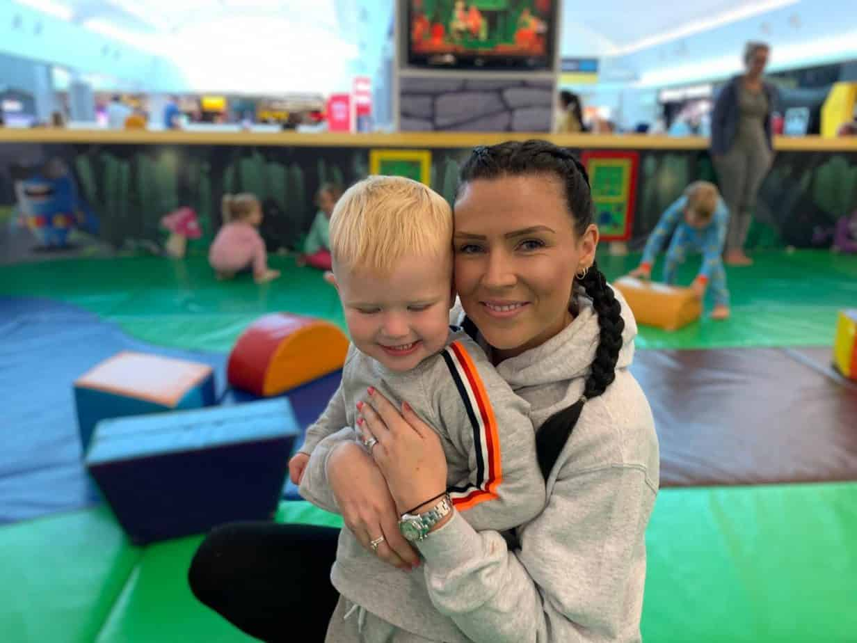 baby k and i in the soft play at london gatwick airport south terminal