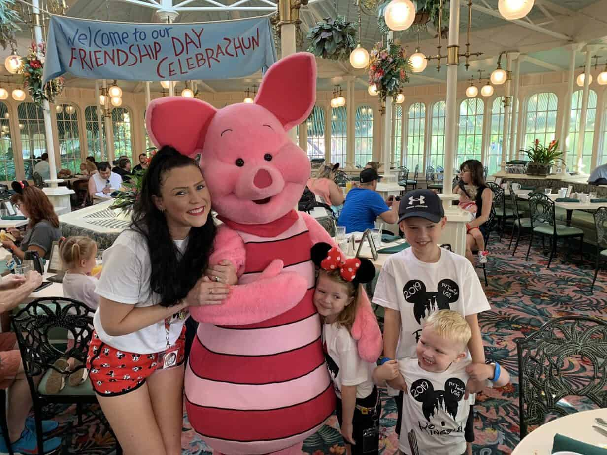 meeting piglet at character breakfast crystal palace magic kingdom Disney world