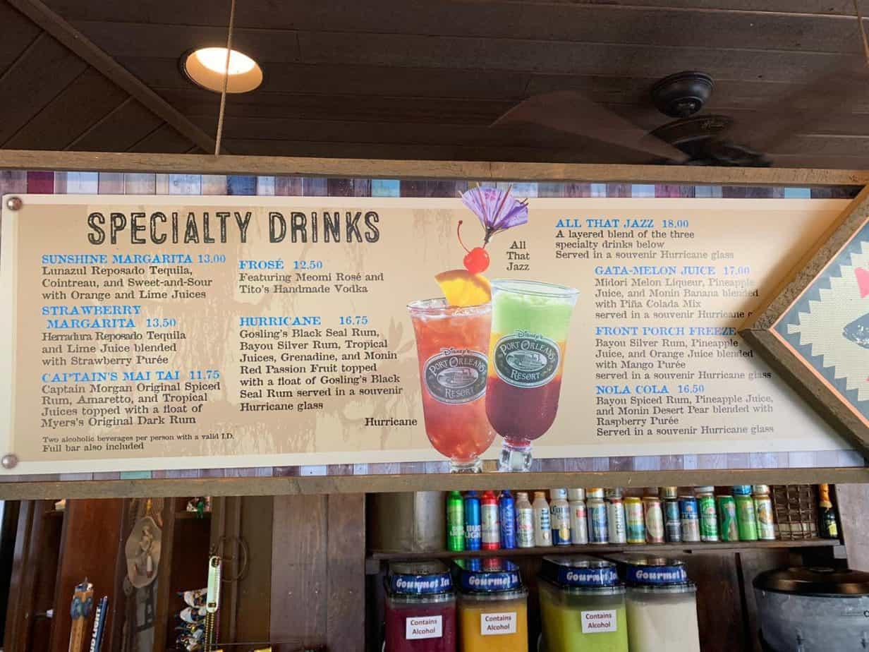 Bar menu at Ol' Mans island at Port Orleans Riverside