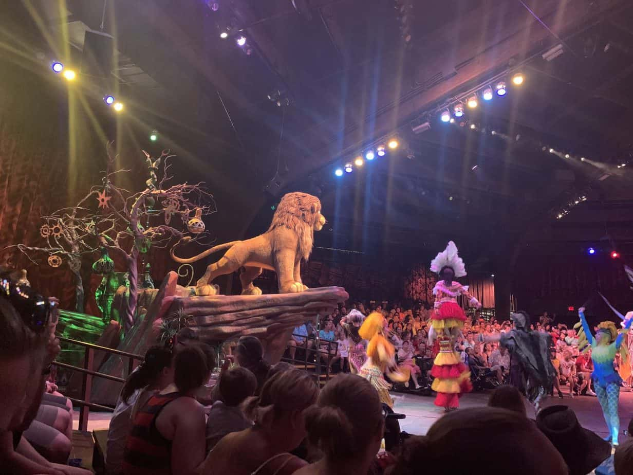 The Simba float from The Lion King show at Animal Kingdom
