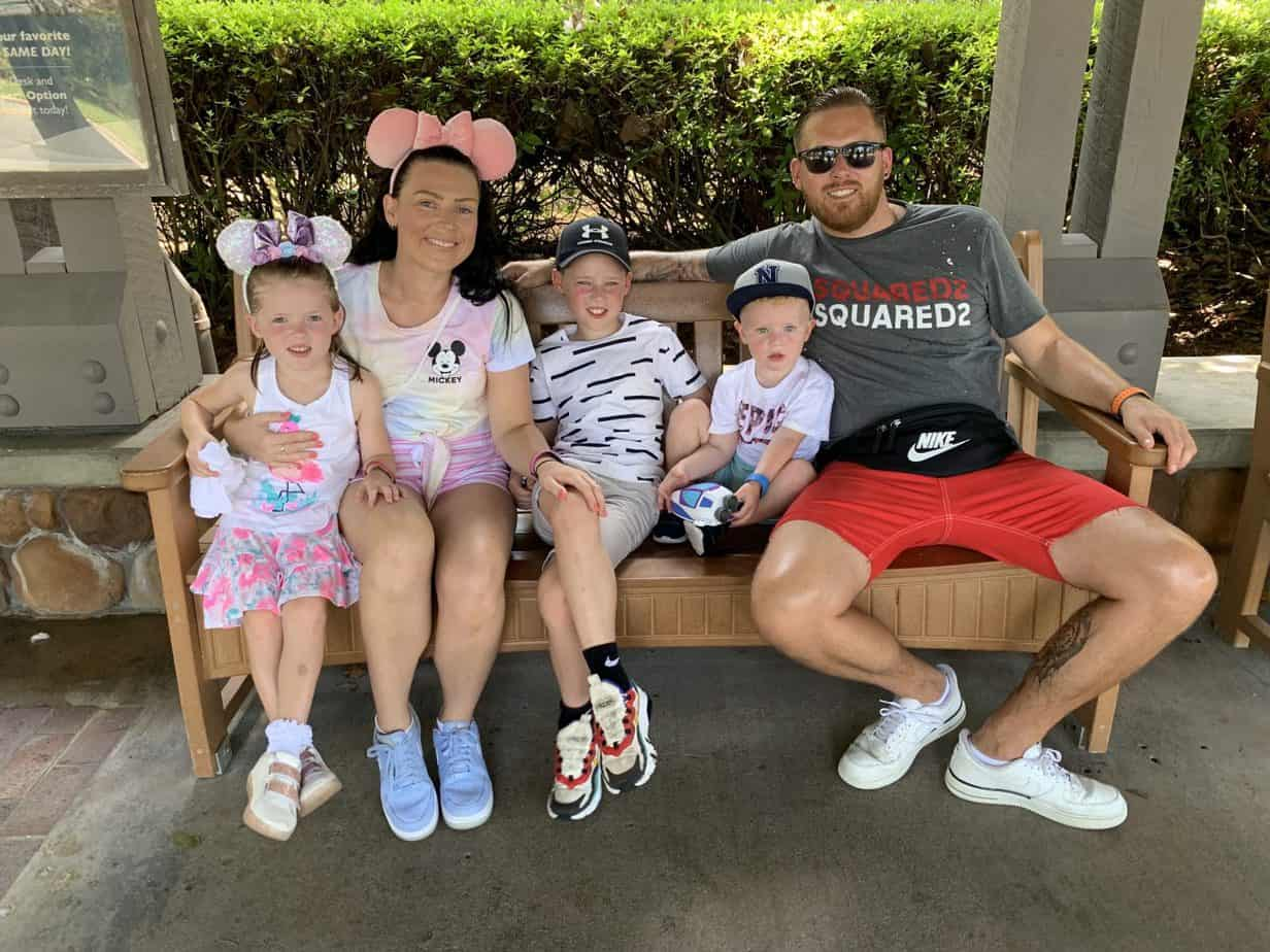 Waiting for the bus to take us to Epcot