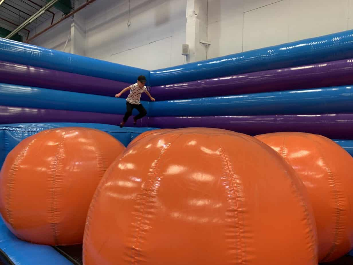 Mr B taking on the Inflata Balls at Inflata Nation
