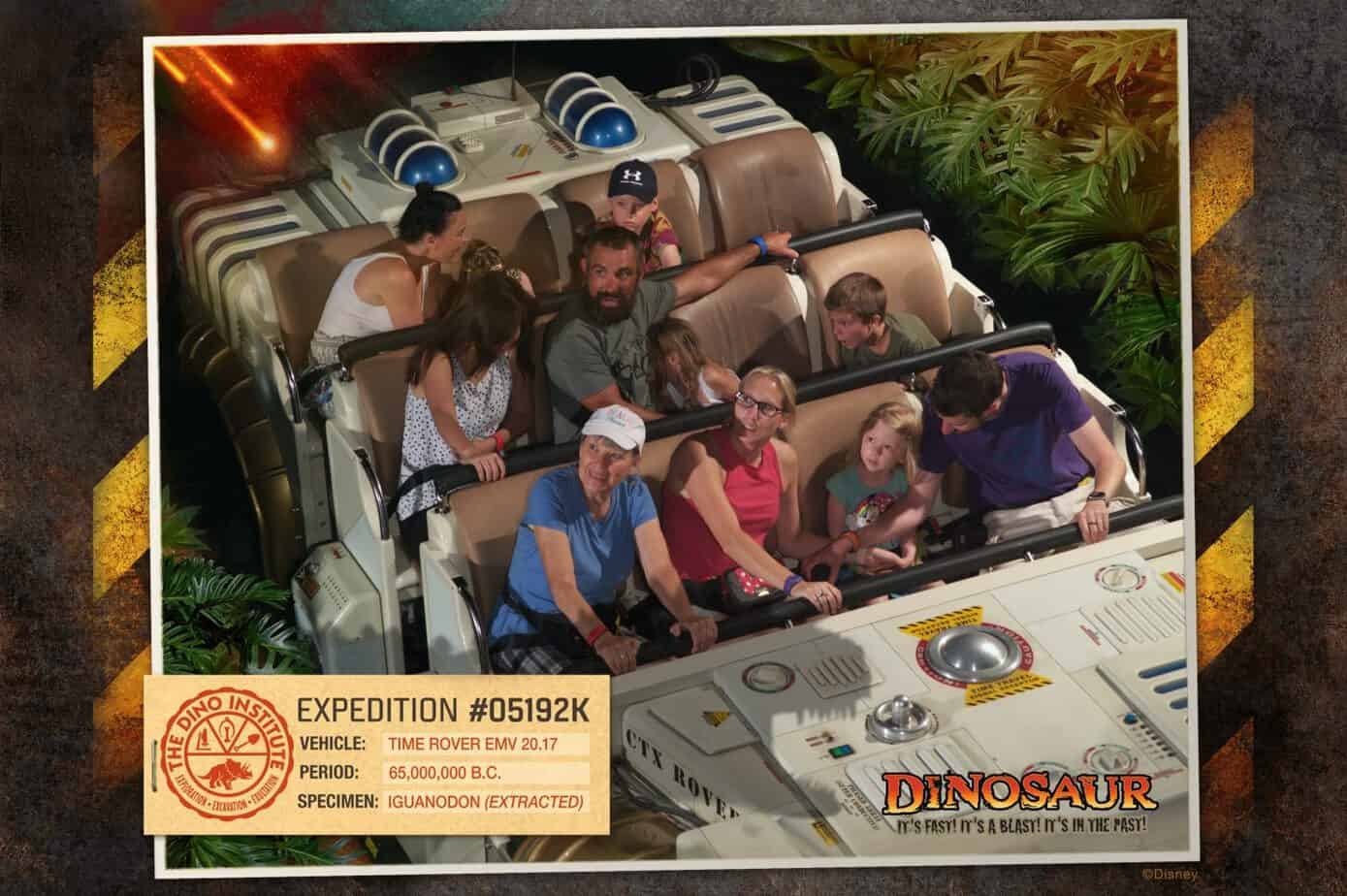 On the dinosaur ride at Animal Kingdom