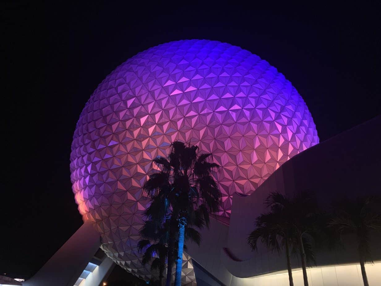 Spaceship Earth at night in Epcot